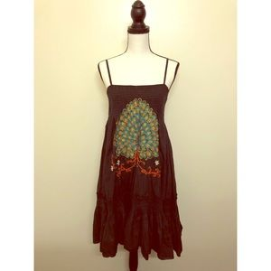Traffics People embroider peacock accent dress